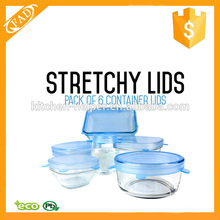 Durable expansível Silicone Stretch Lids 6 Pack