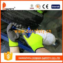 Nylon Polyester Liner Latex Crinkle Foam Glove Dnl418