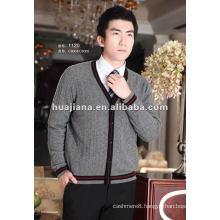 men's V neck cardigan sweater/ 100% pure Cashmere