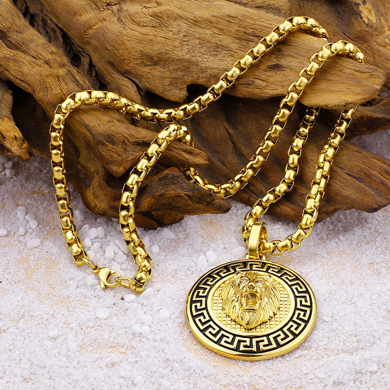 Mens Gold Lion Necklace