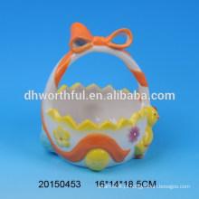 Easter galinha cerâmica ovo titular cestas