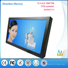 POE powered 13.3 inch 1366 * 768 wall mount android tablet POE versión de Android 4.4