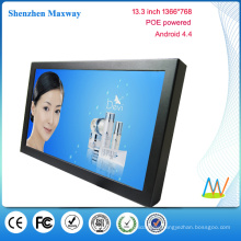 POE powered 13.3 inch 1366*768 wall mount android tablet POE android version 4.4