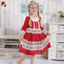 2017 new design Christmas dress with white lace