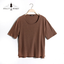 T-shirt Mulheres New Stylish Brown Soft Unlined