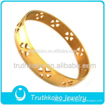 High Quality Vacuum Plating Stainless Steel Hollow Out Four Leaves Upgrade Path Blade And Soul Bangle Charm Bracelets for Women