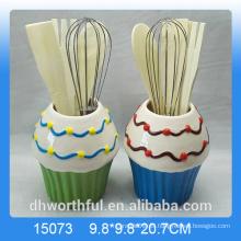 Cocina ornamento porta utensilio de cerámica en forma de helado