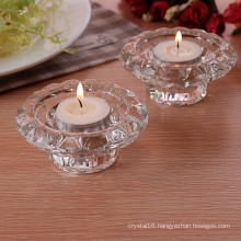 Simple Crystal Glass Tealight Holder for Home Decoration
