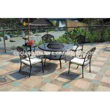 Outdoor bbq table and chairs aluminium garden furniture