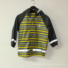 Light Yellowi Stripe PU Reflective Rain Jacket for Children/Baby