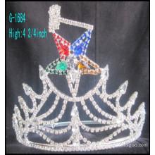 2016 Wholesale New fashion big tiara crown rhinestone stars custom king crown