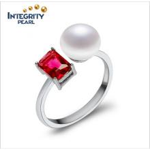Bague de perles redimensionnable 925 Bague en perle d'argent 8-9mm Boutons AAA perles de femmes