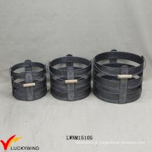 Set 3 galvanizado zinco rodada industrial armazenamento cesta