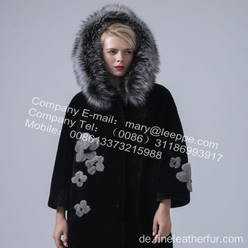 Lady Reversible Hooded Kopenhagen Mink Pelzmantel