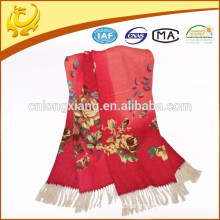 Kashmir New Fashion Style Yarn Dyed Handmade 100% Wool Printed Shawl With Long Tassel