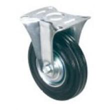 Roulette industrielle en caoutchouc noir fixe (KXX1)