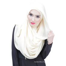 Summer elegance cool Dubai solid color chiffon muslim hijab cap and scarf twinset