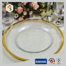 Gold Rim Glass Charger plates wholesale