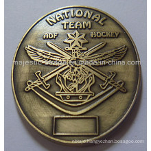 3D Customized Antique Bronze Plating Medallion with Raised Text