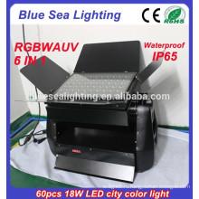 60pcs 18w 6 в 1 rgbwauv dmx ip65 вело напольное рождество освещение потока