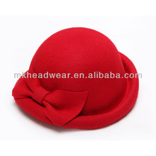 Wholesale Womens Wool Felt Fedoras Small Round Dome Bowler Hat with Bowknot