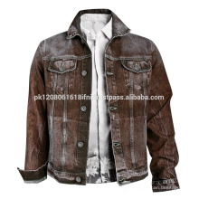 Brown cowboy vintage style jeans jacket for men and women custom made