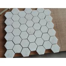 Mosaïque à mosaïque hexagonale Mosaïque de marbre blanc (HSM229)