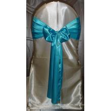 Baratos azul turquesa silla de raso cinturones para bodas