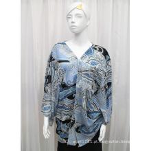 Lady Moda Paisley Impresso Poliéster Chiffon Silk Shirt (YKY2215)