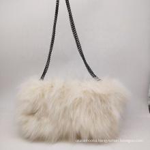 genuine fox fur furry shoulder handbag evening clutch purse