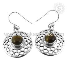 Scrumptious Tiger Eye Gemstone Pendiente 925 de plata de ley al por mayor joyería Jaipur hecho a mano joyería de plata