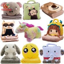 Custom Cute 2 en 1 Bear Owl Elephant Bunny Emoji Unicornio Doll Blanket Toy Soft Animal Head Plush Baby Pillow Manta para viajar