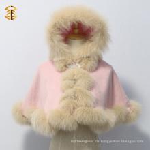 Lovely Kid Short Style Pink Fox Pelz Kaschmir Cape mit echten Fox Pelz