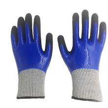 13 Gauge Double Layers Nitrile Sandy Coated Cut Resistant Gloves Level 5