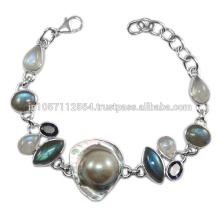 Natural Blister Pearl Iolite Labradorite & Rainbow Moonstone Gemstone with 925 Sterling Silver Bracelet