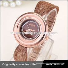 latest design western stainless steel ladies bracelet gold plated wrist watches