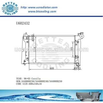 Radiator For TOYOTA 96-03 Corolla Auto 164000D230/164000D240/164000D250 Manufacturer and Direct Sale
