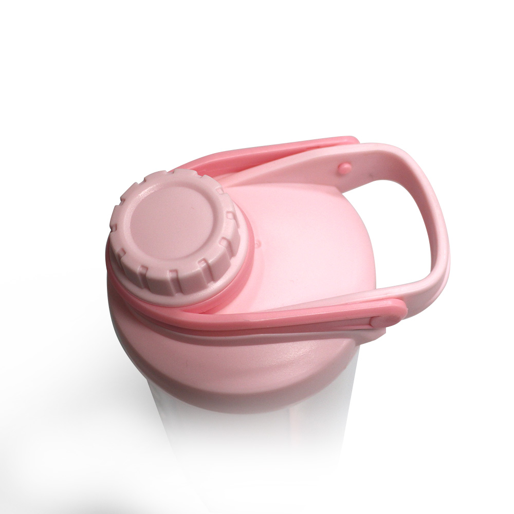 Pink Color Girls Fitness Water Bottle, Shaker Protein 600ML, Plastic Drink Bottles With Ball