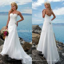 2014 потрясающий пляж Стиль свадебное платье без бретелек асимметричный Плиссированные лиф с низким на молнии длинные шифон-line платье NB0900 для новобрачных
