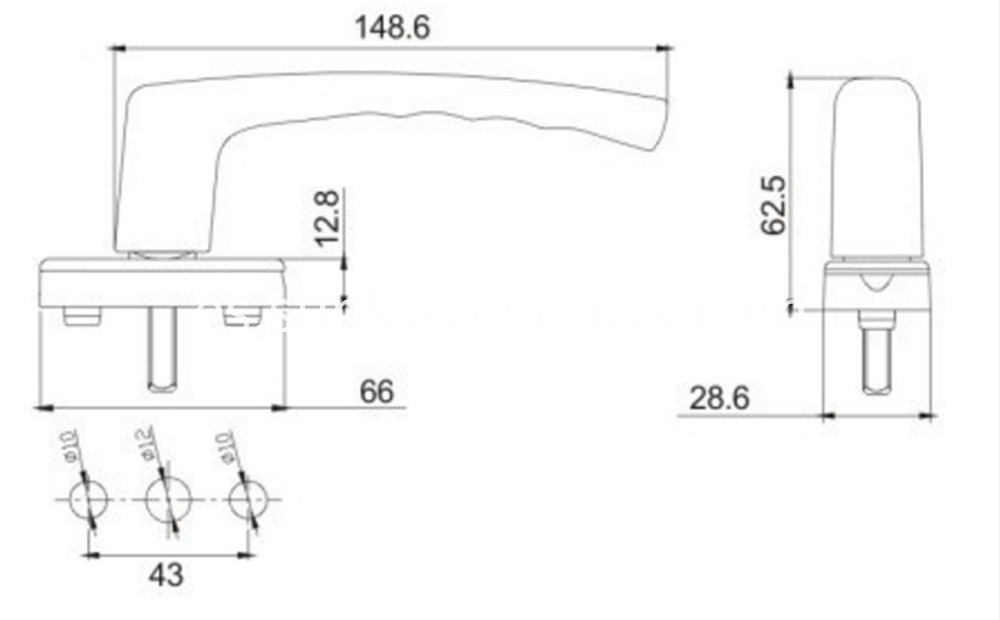 Swing handle, stainless steel door pull handle,casement handle Drawing