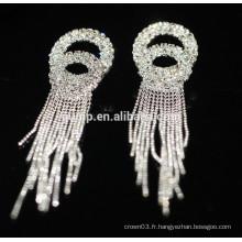 2015 Promotion Mariage élégant en argent Drop Crystal Stud Earrings