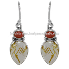 Lovely Rutilated Quartz e Coral Gemstone 925 Sterling Silver Earring Jewelry