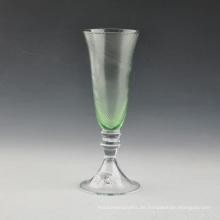 Mundgeblasenes grünes geprägtes Glas Champagne Flute