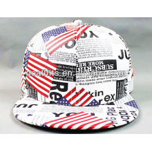 High Quality Fake Leather Flat Brim Hat With Printing