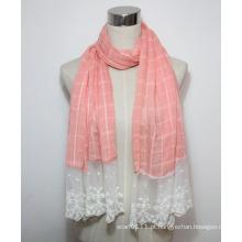 Senhora moda algodão poliéster voile lenço de renda (yky1088)
