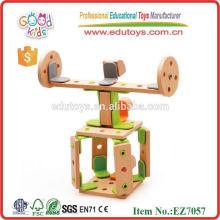 New Product Design Wooden Helicopter DIY Toys Size 30*24*6 cm OEM Intelligent DIY Construction Toys for Kids EZ7057