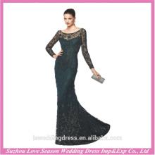 LE0004 Sexy elegant embroidered sheer crystal beaded see through wholesale luxury bandage dress black long sleeve evening dress