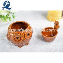 Современный Крытый Открытый Декор Сова Форма Маленький Керамический Цветочный Горшок