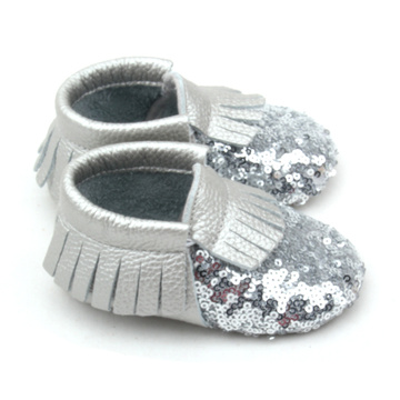 Borong Fancy Shoes Shining Silver Sequin Baby Moccasins