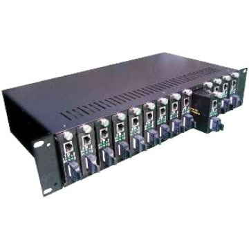 Chassis con convertitore multimediale in fibra a 14 slot
